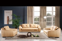 Classic 1 2 3 Latest Modern Desgin High Back Luxury Top Grain Cattle Leather Sofas Living