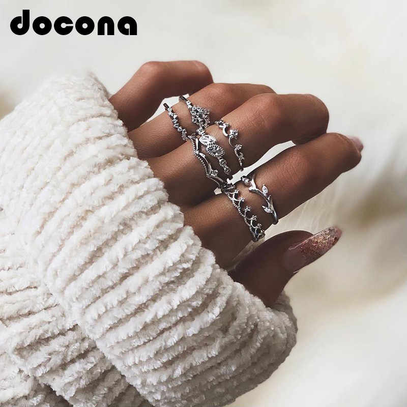 docona Vintage Silver Color Crystal Leaf Crown Shape Ring Set for Women Bohemian Geometric Knuckle Midi Rings 7pcs/1set 3825