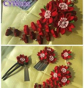 Красивое японское кимоно заколка для волос цветок заколка «Сакура» головной убор классические кисточки женский головной убор красная рези...