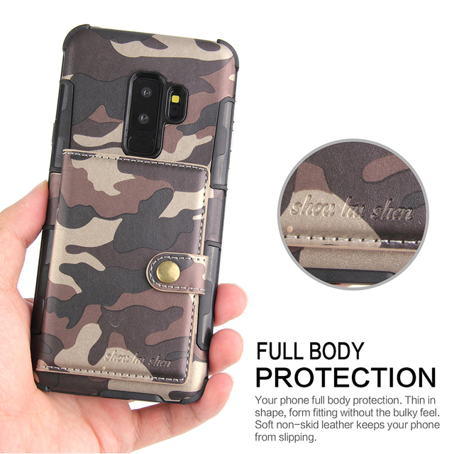 low priced 837b9 f8df2 US $6.99 5% OFF|Army Camouflage Military Case For Samsung Galaxy Note 9 8  note9 PU Leather Coque Cover For Samsung Galaxy s8 s9 s10 plus Cases-in ...