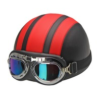 Hot Sales Motorcycle Helmets For Harley Bike Bicycle Open Face Retro Half Moto Helmets With Goggles