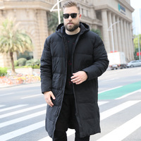2018 Fashion trend Men's Large size XL 10XL Loose Long Hooded Cotton Winter knee Warm jacket Suitable for 175kg Men's clothing