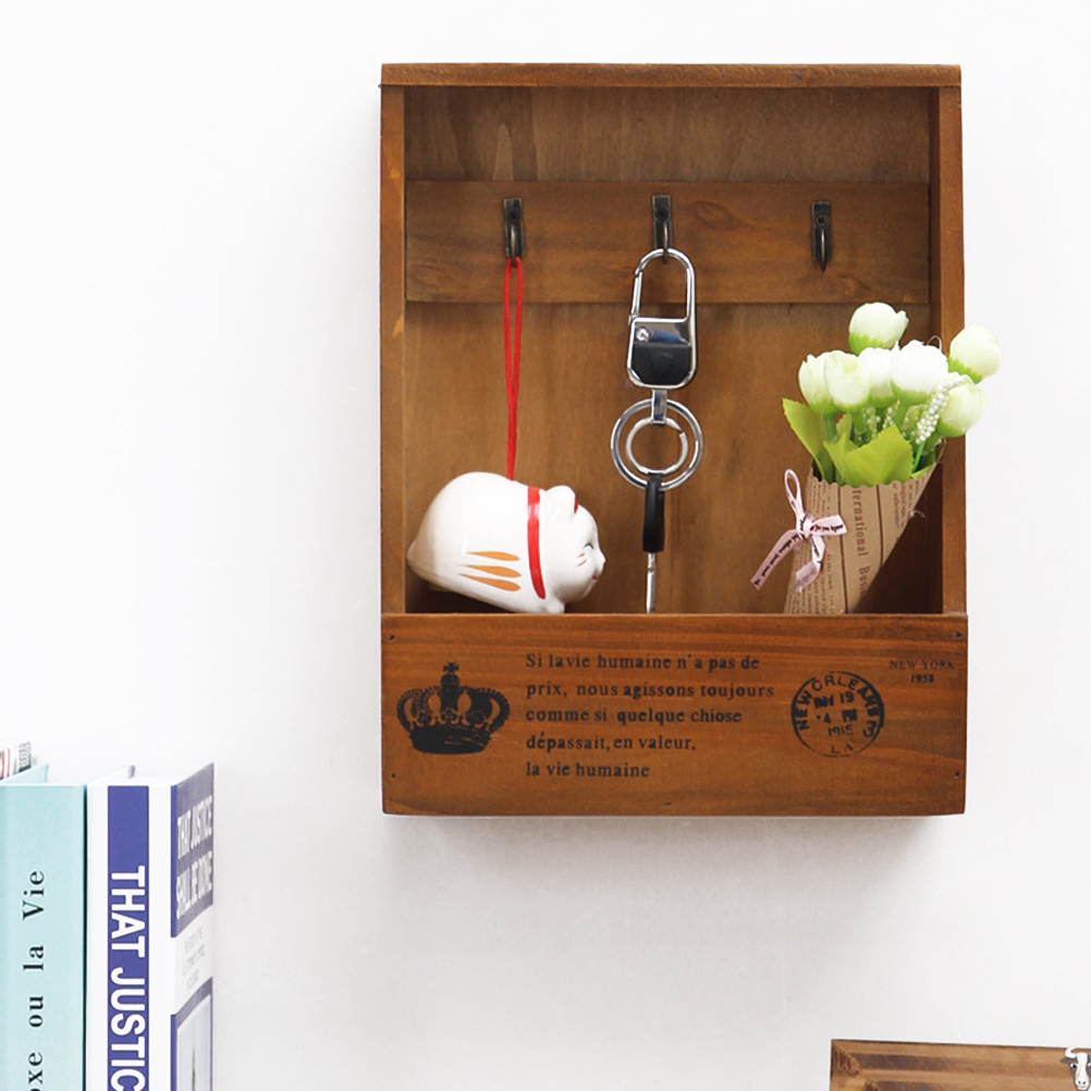 Mail and Key Holder  Retro Wall Mounted Wooden Box  Decorative Wall Mounted Key Rack Pocket Sorter for Entryway Kitchen Mudroom-in Hooks & Rails from Home & Garden
