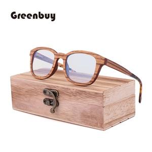 Image 3 - جديد ريترو ساندويتش الخشب نظارات الرجال اليدوية بحتة موضة الأزرق عدسات إضاءة واقية من الإشعاع النظارات الشمسية استبدال عدسة