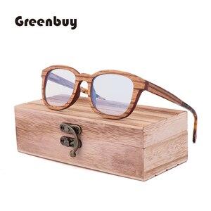 Image 3 - New Retro Sandwich Wood Glasses Purely Handmade Mens Fashion  Blue Light Lens Radiation proof Sunglasses Replaceable lens