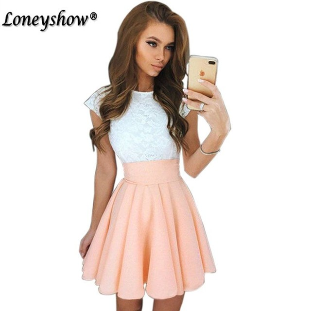 Loneyshow 2017 Summer Dress Elegant Women Vestidos O-Neck Office Dress Short Sleeve Plus Size Bodycon Slim Party Lace Dresses