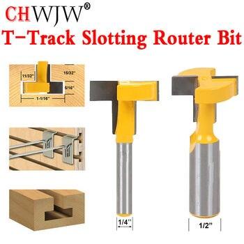 """1 Uds 1/4 """"8mm 1/2 vástago de alta calidad t-slot & t-track router de ranuras Bit para cortador de cincel para trabajos en madera precio al por mayor"""