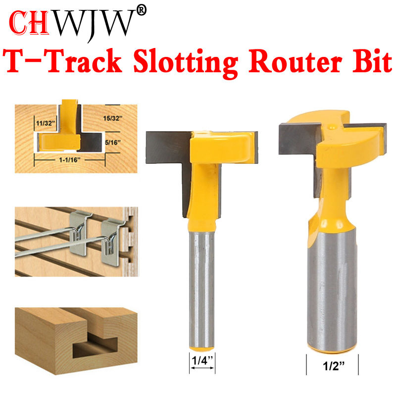 1pcs Top Quality T-Slot & T-Track Slotting Router Bit - 1/4 1/2'' Shank For Woodworking Chisel Cutter Wholesale Price high grade carbide alloy 1 2 shank 2 1 4 dia bottom cleaning router bit woodworking milling cutter for mdf wood 55mm mayitr
