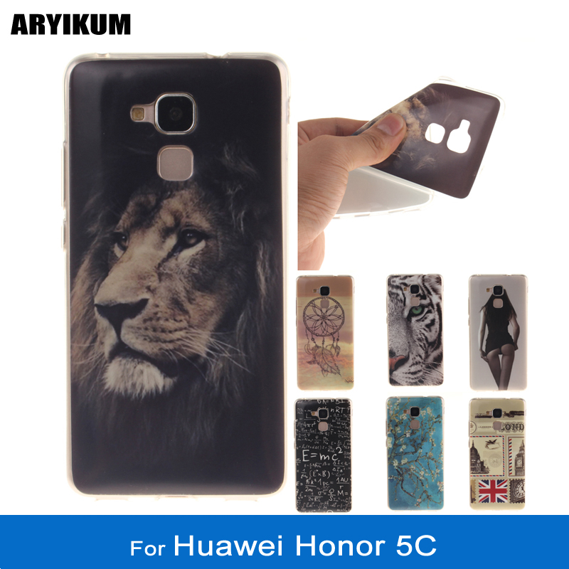 ARYIKUM For Huawei Honor 5C Lte NEM-L51 Clear Soft TPU Silicone Lion Phone Cases For Honor5C Case Cover For Honor 5 C Coque