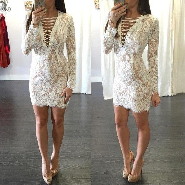 e3934ffd4dc261 Hoge kwaliteit boho sexy korte gehaakte jurk lange mouw wit kant jurk zomer  elegante dames kant