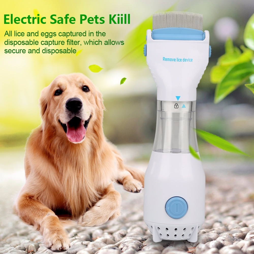 Electronic Electric Flea Comb Puppies Fleas Treatment Safe Pets Kill for Dogs Cats EU/US ...