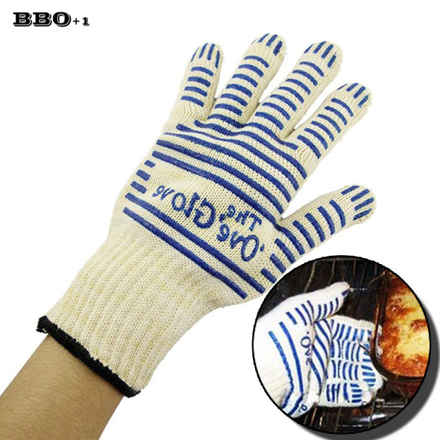 2pcs Set Oven Gloves Silicone Heat Proof Resistant Fireplace Gloves