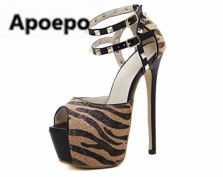sales women gladiator sandals Leopard animal pints shoes women summer peep toe sexy pumps 16 cm extreme high heels sandals aneikeh summer women sandals pumps shoes peep toe sexy high heels gladiator sandals women slingback ankle boots size 35 40