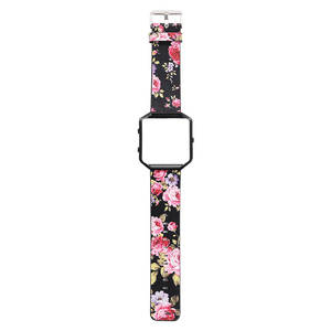 Image 3 - DAHASE Floral Leather Watchband 23mm Flower Strap Replacement Watch Strap For Fitbit Blaze Band w Colorful Metal Frame