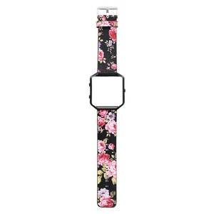 Image 3 - DAHASE Floral Lederband 23mm Blumenband Ersatz Uhrenarmband Für Fitbit Blaze Band w Bunte Metallrahmen