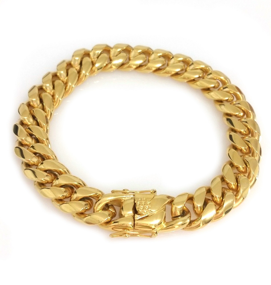 Men-18K-Yellow-Gold-Plated-Stainless-Steel-12mm