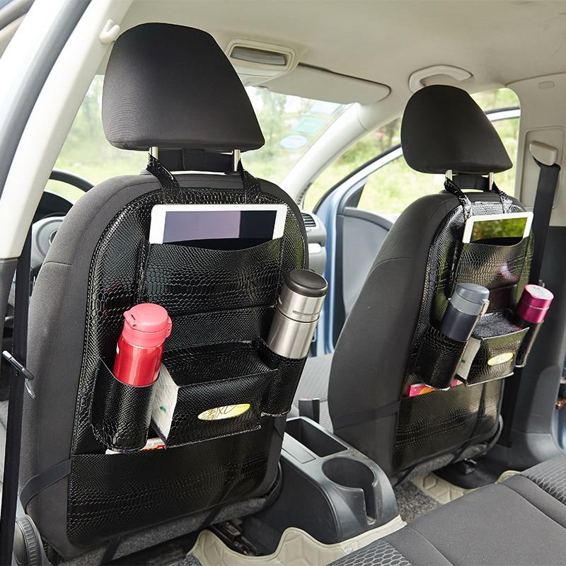 2 шт. заднее сиденье автомобиля Органайзер карманная сумка для хранения автомобиля кожа змеиная кожа текстура многоцелевая подвесная сумка...