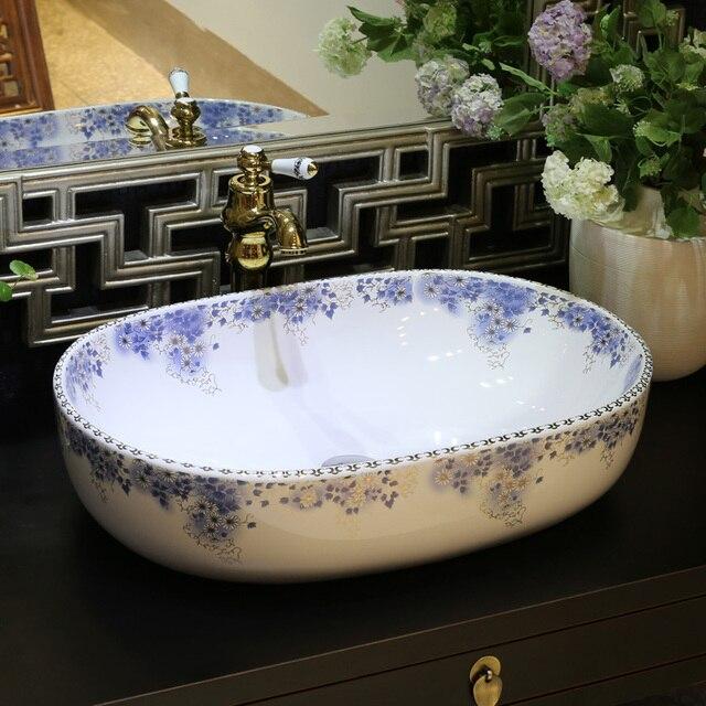 Ovale Jingdezhen Sanitari in ceramica lavabo lavandino da Appoggio ...
