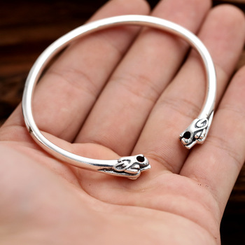 S925 Sterling Silver Thai Silver Jewelry Korean Men And Women Bangle Personalized Double Tiger Head Simple Open Ended Bangle