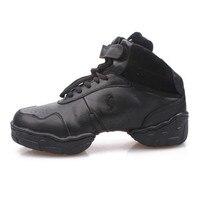 Men Leather Mesh Upper High Top Elevator Shoes Inside Professional Dance Sneakers Jazz Salsa Modern