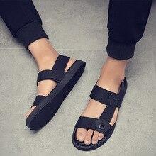 Ins/ г., модные мужские пляжные сандалии мужская летняя обувь для отдыха на плоской нескользящей подошве черная летняя обувь, KA1317