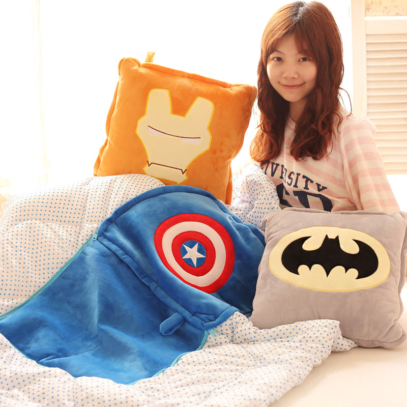 Plush 1pc 150cm Captain America iron man batman thor superman coral velvet air conditioning baby blanket cushion stuffed gift gift fruit style watermelon pineapple grapes mcdull pig soft coral velvet baby blanket cushion hand warm stuffed toy gift 1pc