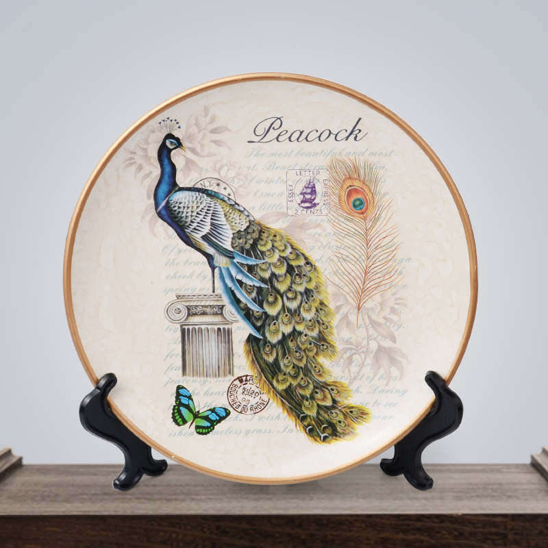 Creative ceramic Peacock decorative wall dishes TV cabinet porcelain decorative plates home decor crafts room decoration gifts in Bowls Plates from Home Garden