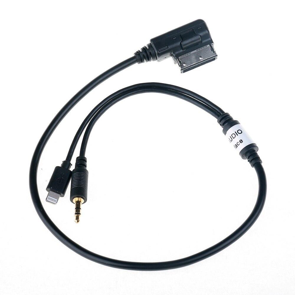 imágenes para 3.5mm AUX Cable Adaptador de Audio del coche MDI AMI MMI Interfaz Hombre Auto conecte el Adaptador de Carga para Audi A6L Q3 VW Jetta GTI para El Iphone