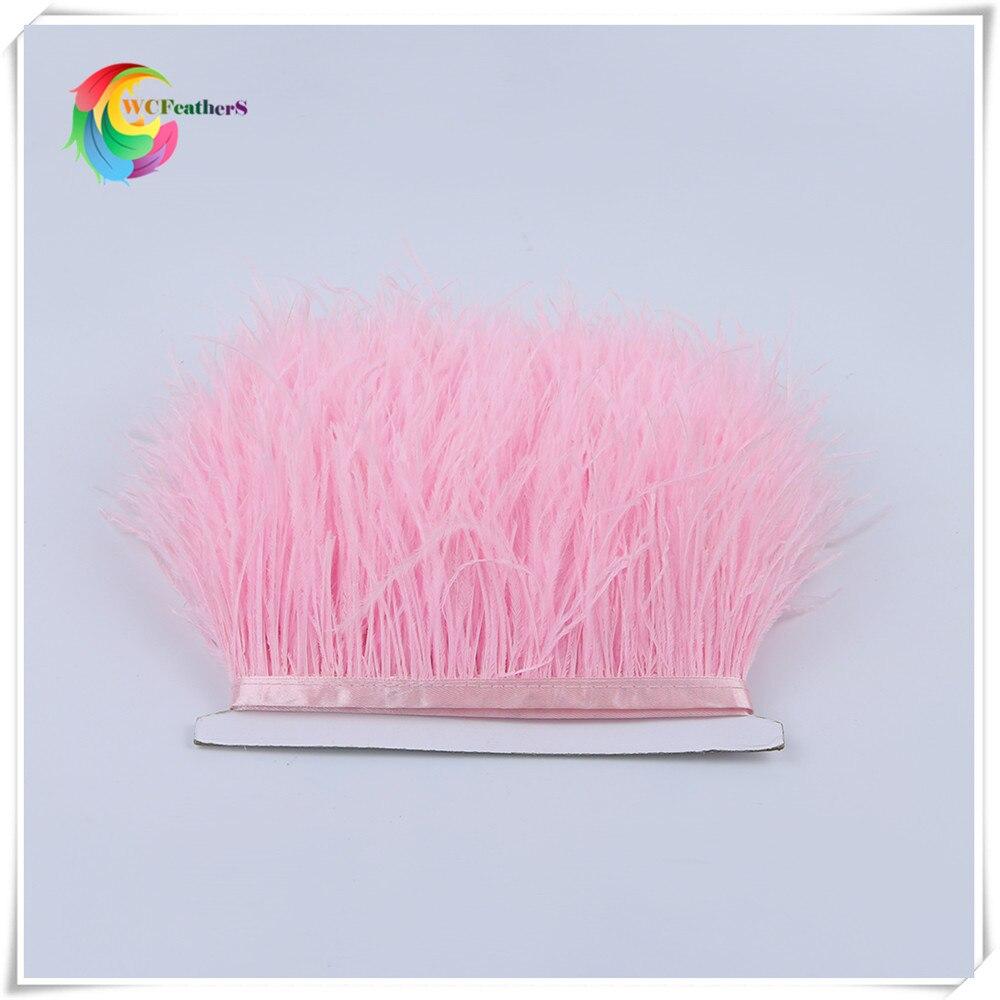 1 метр 32 цвета обрезки из натуральных перьев страуса высота 8-10 см Перья ленты для DIY свадьба на праздник, украшение для платья Ремесло - Цвет: O24 Pink