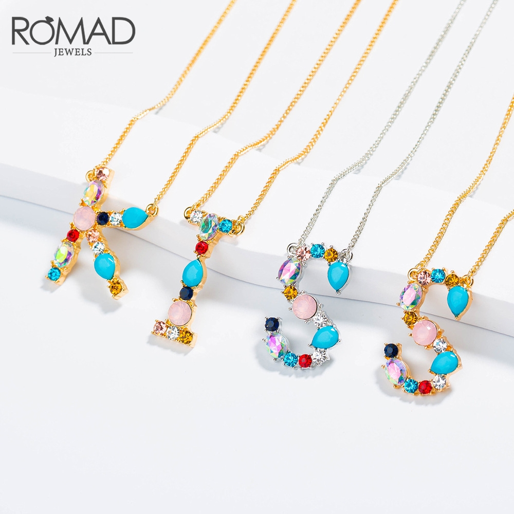 ROMAD Letter Necklace Multicolor CZ Necklace Personalized Gold Silver Color Initial Name Jewelry For Women Necklaces Pendants R5 in Pendant Necklaces from Jewelry Accessories