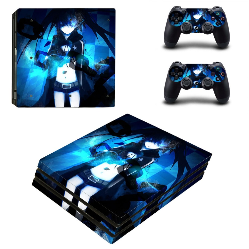 BLACK ROCK SHOOTER Vinyl Decal Skin PS4 Pro Sticker Cover For Sony Playstation 4 Pro Console and Controllers