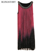 Europe High Quality Nightclub Singer Dance Stage Metal Chain Gradient Tassel Fringed Dress TM9884