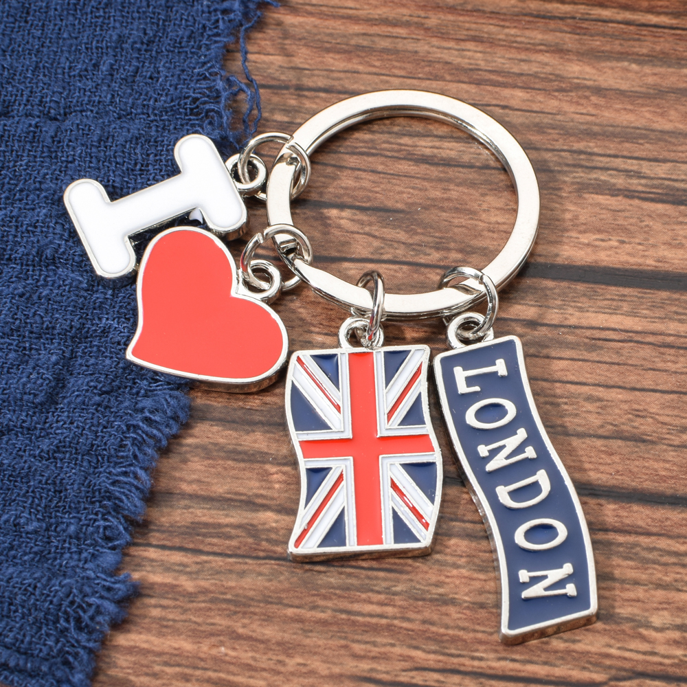 Vicney Fashion Jewelry Accessories I Love London Key Chain Heart Shape Metal Zinc Alloy Keychain With Letter I Keyring Key
