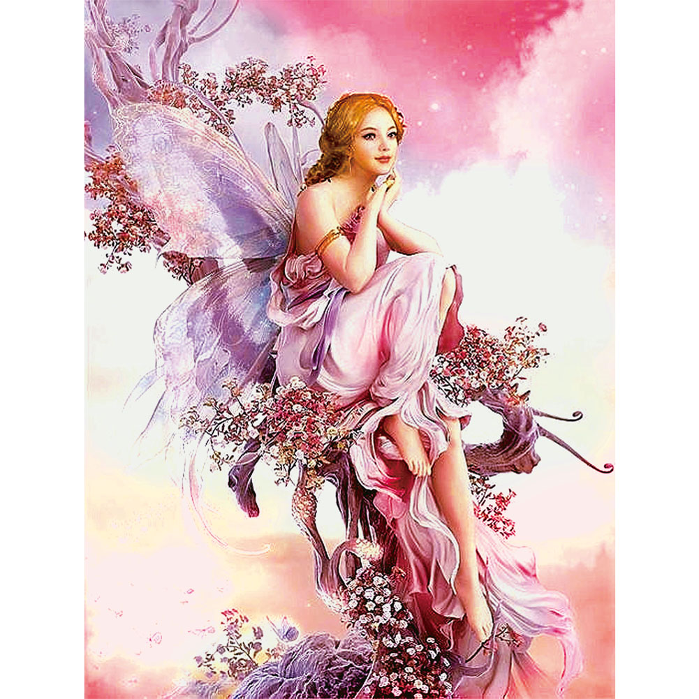 5D DIY Diamantmålning Butterfly Fairy Mosaic Porträtt Rund Diamond Broderi Måla Cross Stitch Kit Home Decor