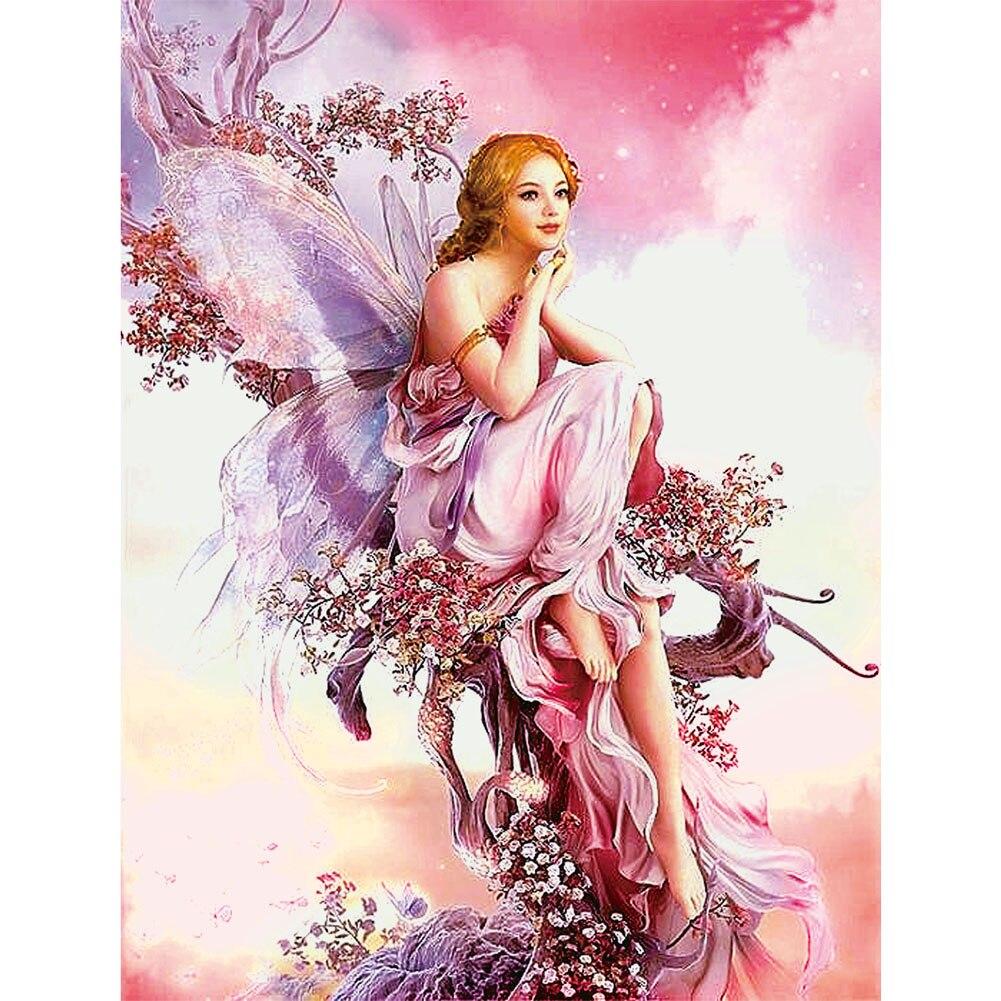 5D DIY Diamond Painting Butterfly Fairy Mosaic Portrait Round Diamond Embroidery Painting Cross Stitch Kit Home Decor