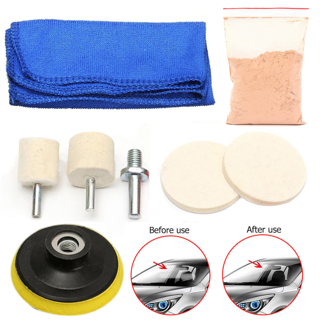 Glass Polishing Kit Windscreen Rear Side Windows Scratch Remover 70ml Solution + 3 Wool Polishing Pads + Cloth For Car Mayitr