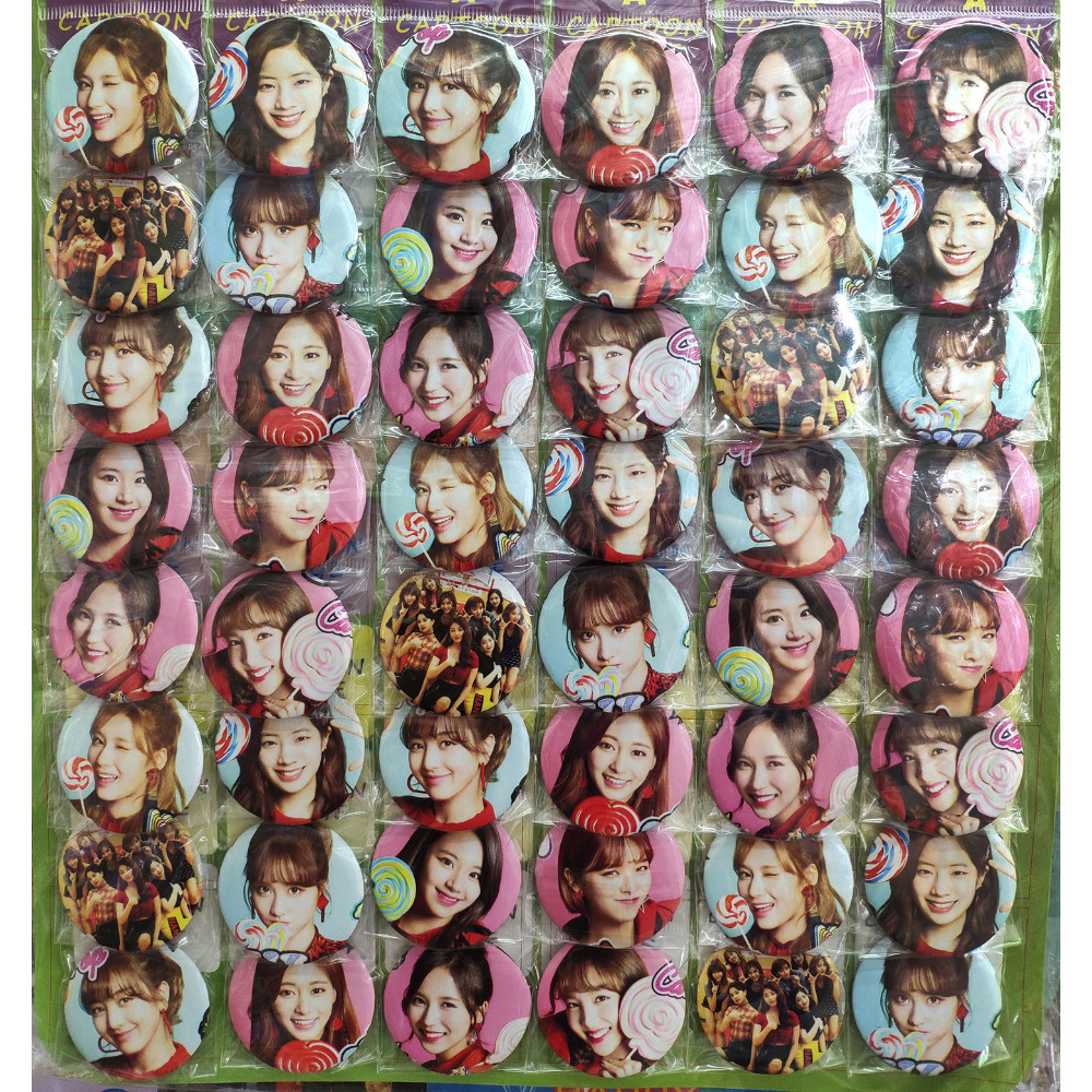 Twice KPOP stars fashion 45MM 16/24/48 pcs lot PIN BACK BADGE BUTTON BROOCH for BAG GIFT TOY CLOTH COOL MUSIC IDOL GIRLS