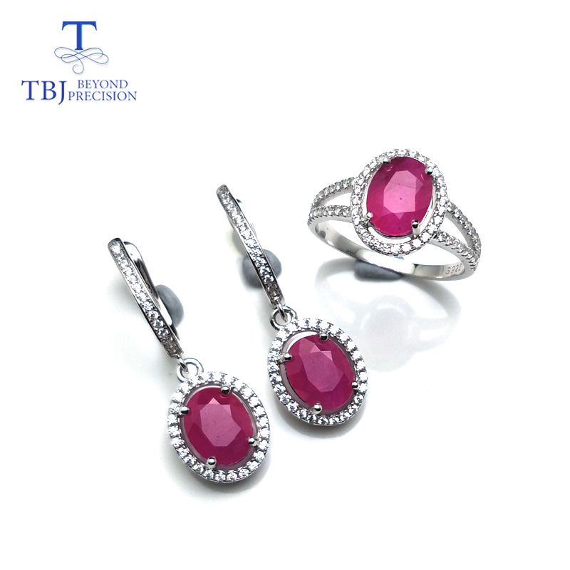TBJ, Natural ruby gemstone ring and Earring Jewelry set in 925 sterling silver special best gift for women lady daily party wearTBJ, Natural ruby gemstone ring and Earring Jewelry set in 925 sterling silver special best gift for women lady daily party wear