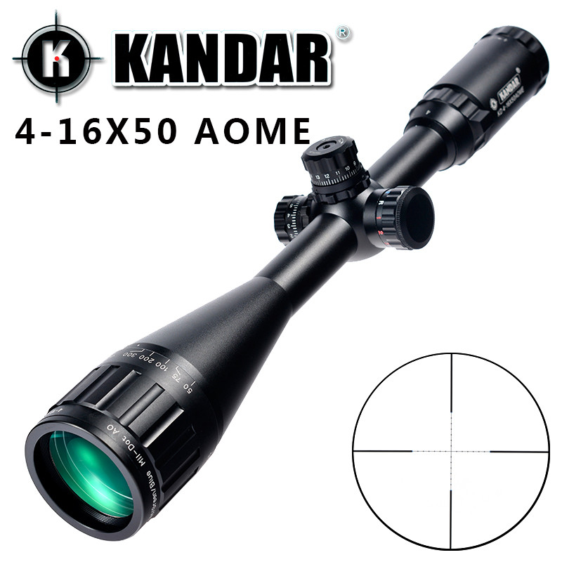 KANDAR 4-16x50 AOE Mil-dot Reticle RifleScope Locking Resetting Full Size Hunting Rifle Scope Tactical Optical Sight tactial qd release rifle scope 3 9x32 1maol mil dot hunting riflescope with sun shade tactical optical sight tube equipment
