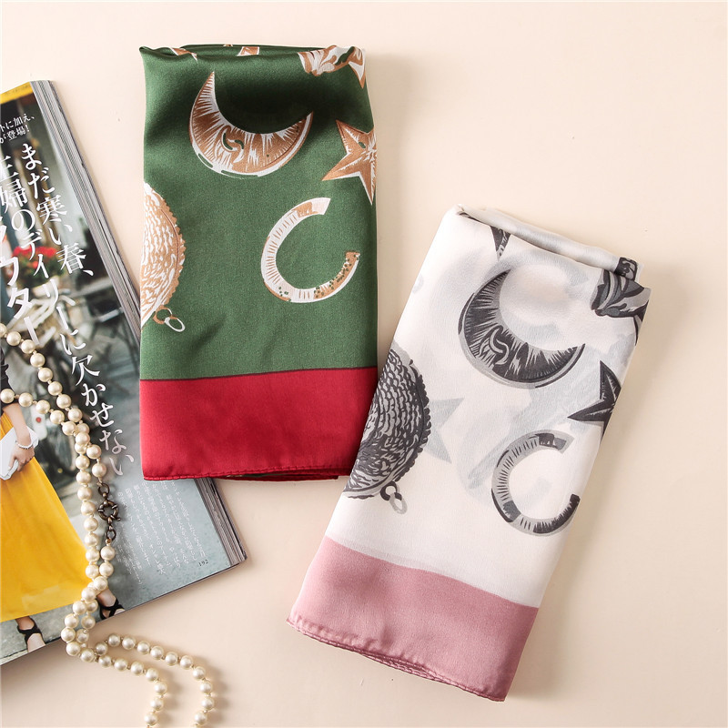 Women Travel fashion scarves new wild scarf moon and stars pattern printed silk scarf travel sunscreen shawl