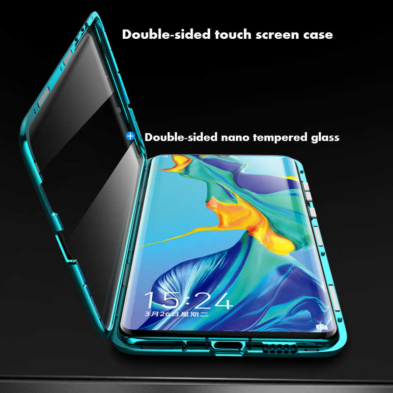 Mzxtby Magnetic Adsorption Metal Glass Case for Xiaomi Mi 8 9 Se Redmi Note 7 Pro Clear Glass Front+back Double sided Cover Case
