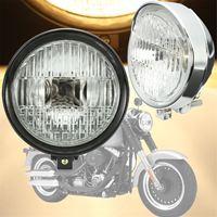 Chrome Black Motorcycle 5 75 Headlight Light Lamp For Harley Bobber Chopper