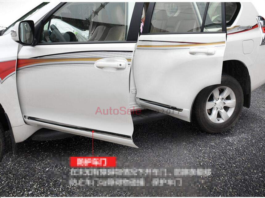 Side Door Protector Guard Body Molding Strips Cover Trim For Toyota Land Cruiser Prado FJ150 2010 2011 2012 2013 2014 2015 2016 accessories fit for 2013 2014 2015 2016 hyundai grand santa fe side door line garnish body molding trim cover