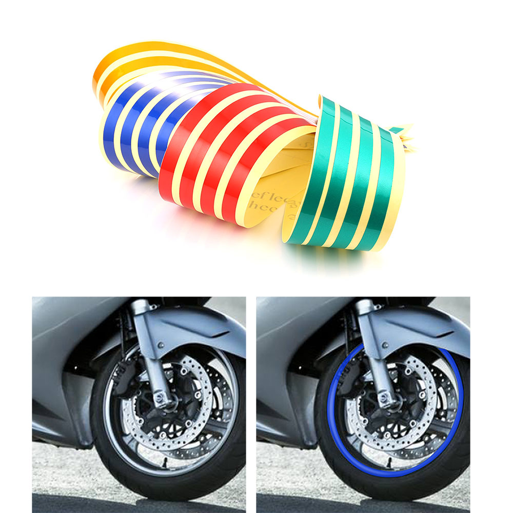 Car Motorcycle Reflective Arrow Decals Rim Stripe Wheel On Fender Tape Stickers