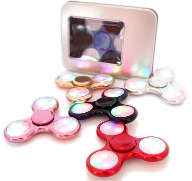 Aluminum Metal LED Light Hand Spinner Fidget Spinner for Autism and ADHD Relief Focus Anxiety Stress