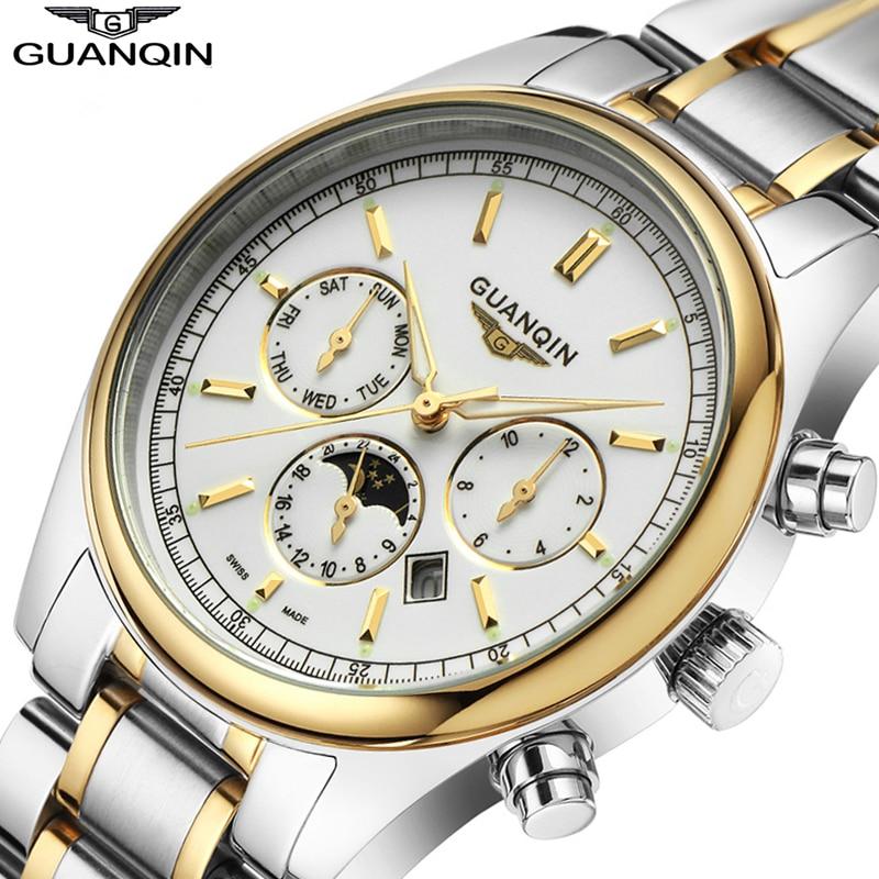 Relogio Masculino 2016 GUANQIN кварцевые Брендовые Часы Для мужчин Топ Роскошные Водонепроницаемый 100 м Для Мужчин's Наручные часы мужской часов relojes