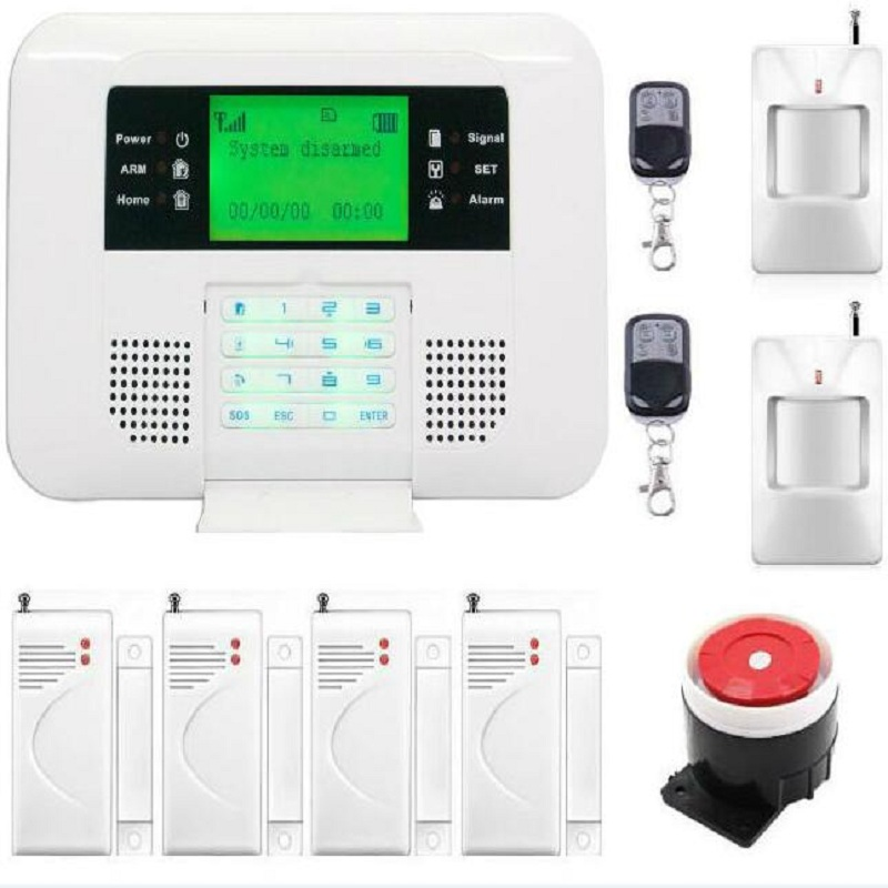 GSM PSTN Home Security Alarm Systems with LCD Keyboard Wireless GSM Alarm System 433MHz Door Detector PIR Sensor Remote Control