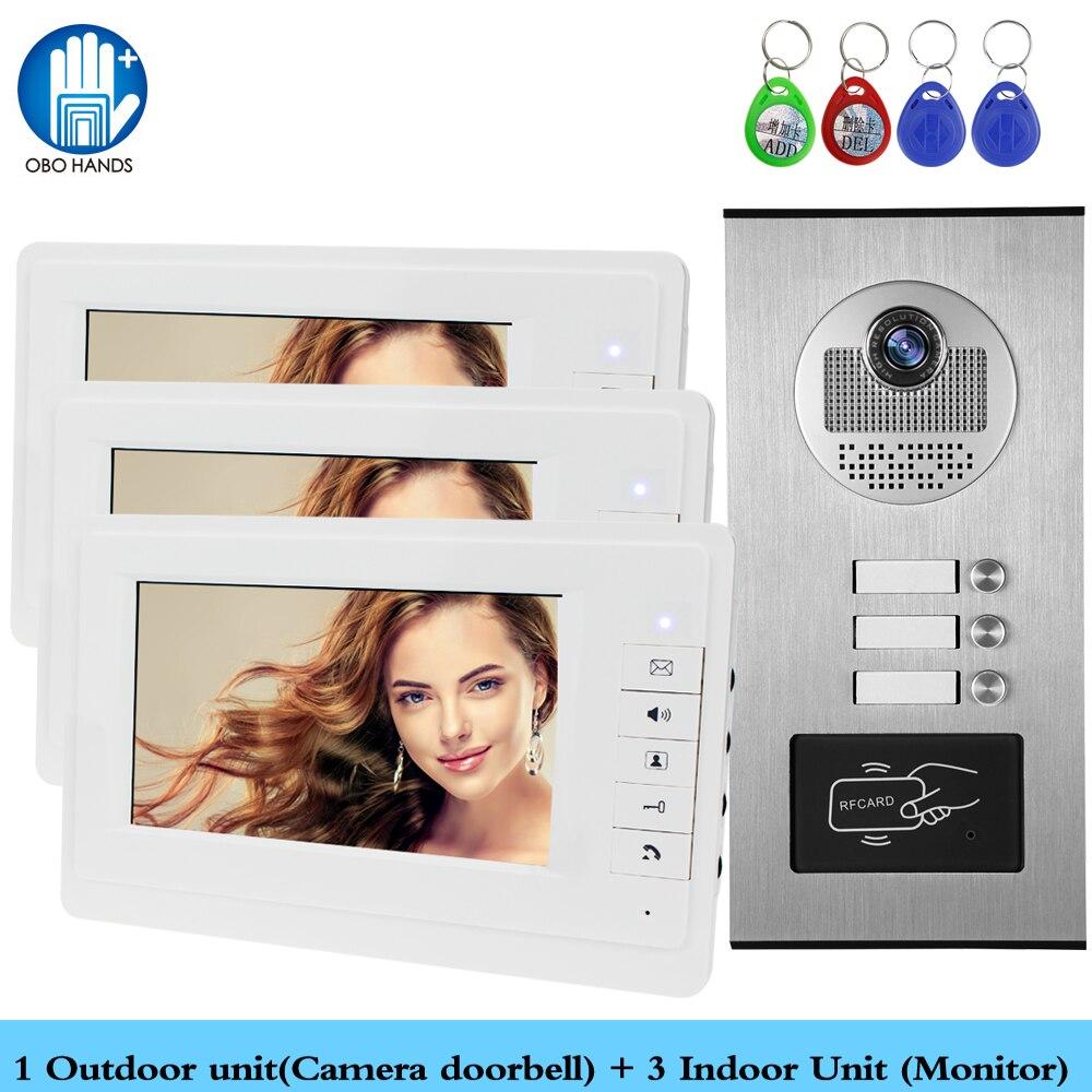 Câblé maison 7 ''couleur vidéo interphone RFID caméra porte cloche avec 2/3/4 moniteurs vidéo porte téléphone 500 utilisateur pour multi appartements