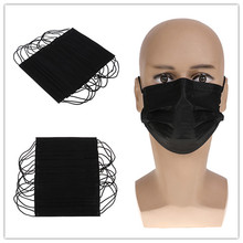 10Pcs Black Disposable Non-woven Mask Mouth-muffle Flu Face Medical Mouth Mask Anti-dust Windproof Masks cofoe non woven disposable surgical face mask medical chemical protective mouth cover anti dust anti smog ear loop mouth mask
