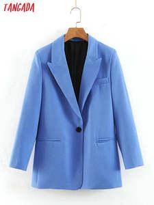 Tangada Blue Blazer Coat Business-Suit Pockets-Buttons Work Office Long-Sleeve Female